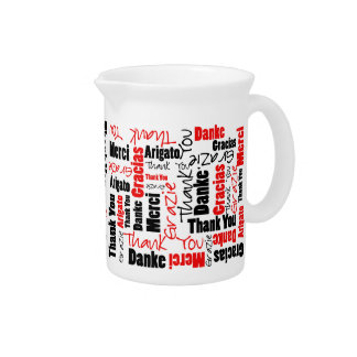 Red Black Thank You Word Cloud Drink Pitcher