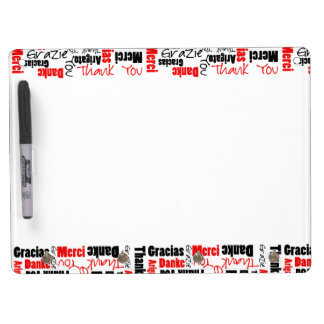 Red Black Thank You Word Cloud Dry Erase Board With Keychain Holder