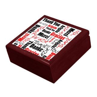 Red Black Thank You Word Cloud Keepsake Box