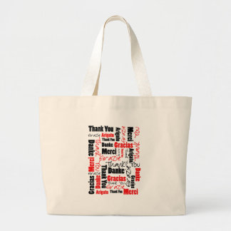 Red Black Thank You Word Cloud Large Tote Bag