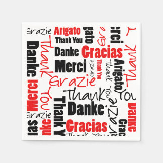 Red Black Thank You Word Cloud Napkin