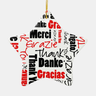 Red Black Thank You Word Cloud Christmas Ornaments