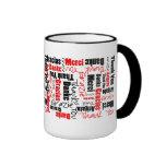 Red Black Thank You Word Cloud Ringer Coffee Mug