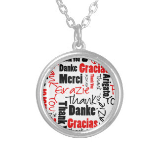 Red Black Thank You Word Cloud Round Pendant Necklace