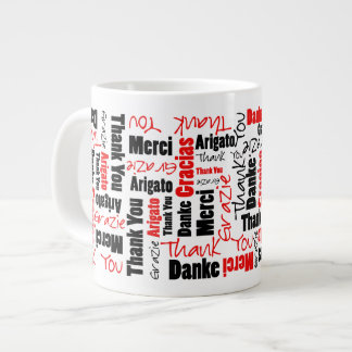 Red Black Thank You Word Cloud 20 Oz Large Ceramic Coffee Mug