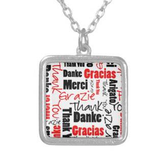 Red Black Thank You Word Cloud Square Pendant Necklace