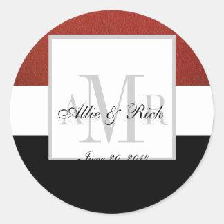 Red Black Three Monogram Wedding Seal