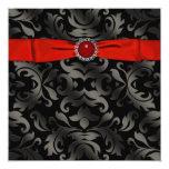 "Red Black Tie Black Damask Party Invitation 5.25"" Square Invitation Card"