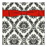 "Red Black Tie Party Black Damask Party Invitation 5.25"" Square Invitation Card"