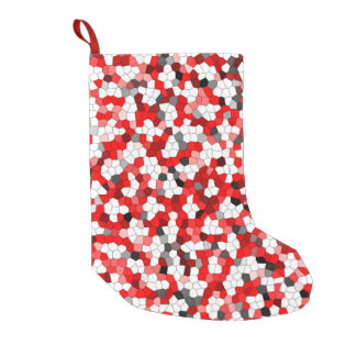 Red Black Toned Modern Trendy Small Christmas Stocking