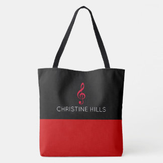 red / black tote bag with name + musical note