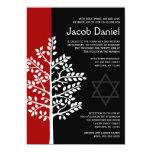 "Red Black Tree of Life Bar Mitzvah Invitations 5"" X 7"" Invitation Card"