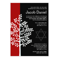 Red Black Tree of Life Bar Mitzvah Invitations