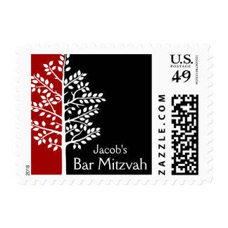 Red Black Tree of Life Bar Mitzvah Postage