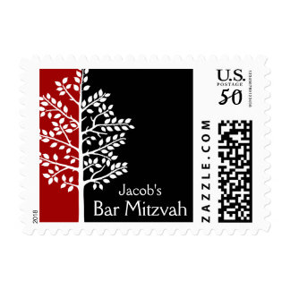 Red Black Tree of Life Bar Mitzvah Postage