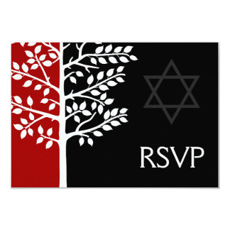 Red Black Tree of Life Bar Mitzvah RSVP 3.5x5 Paper Invitation Card