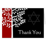 Red Black Tree of Life Bar Mitzvah Thank You Card
