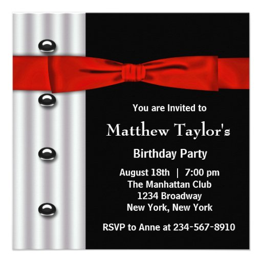 Red Black Tuxedo Bow Tie Mens Birthday Party Invit Custom Invitations