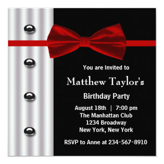 Red Black Tuxedo Bow Tie Mens Birthday Party Personalized Announcements