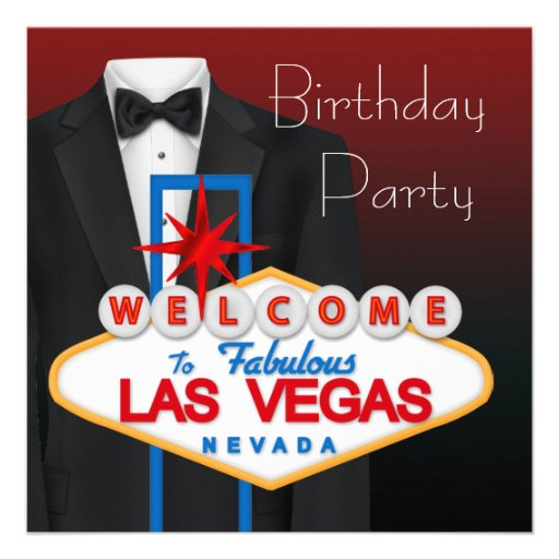 Red Black Tuxedo Mans Birthday Party Invitations