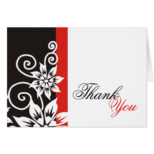 Red & Black Unique Thank You Cards