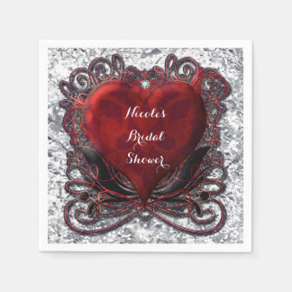 Red & Black Valentine Heart Foil Look Party Napkin