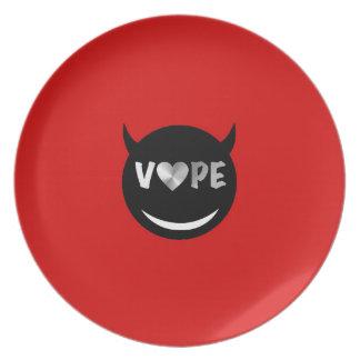 Red Black Vape Heart Rebel Plate