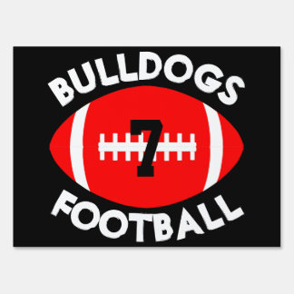 Red & Black Varsity Football Team, Player & Number Lawn Sign