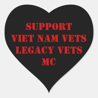 Red & Black Viet Nam/Legacy Vets MC Sicker Heart Sticker