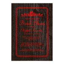 Red Black Vintage Barn Wood Bridal Shower Invites