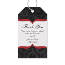Red Black Vintage Damask Thank You Tags