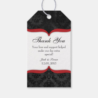 Red Black Vintage Damask Thank You Tags Pack Of Gift Tags