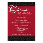 """Red & Black Vintage Holiday Party Invitations 5"""" X 7"""" Invitation Card"""