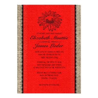 Red Black Vintage Lace Wedding Invitations Custom Invitations
