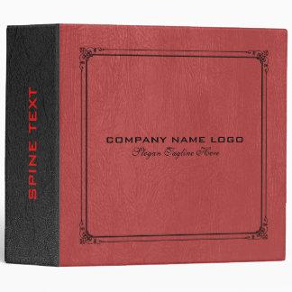 Red & Black Vintage Leather 3 Ring Binder