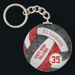 """red black volleyball keychain w school mascot name<br><div class=""""desc"""">This girls' volleyball keychain with custom team and school mascot name features a floral kaleidoscopic pattern blended with the red and black volleyball panels and an artsy abstract swirl pattern blended with the white panels - her name and team name are customizable, as is her jersey number on a tiny...</div>"""