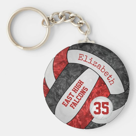 red black volleyball keychain w school mascot name