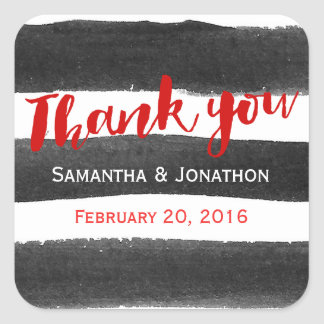 Red Black Watercolor Stripes Wedding Thank You Square Sticker