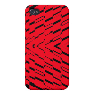 Red Black Wave Shatter iPhone 4 Case