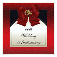 Red Black Wedding Anniversary Invitation