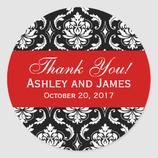 Red, Black Wedding Damask Thank You Label