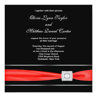 Red Black Wedding Custom Invite