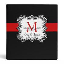 Red Black Wedding Planner Binders Zebra Print