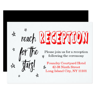 Red Black Wedding Reception Stars Love Quote Card
