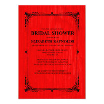 Red Black Western Barn Wood Bridal Shower Invites