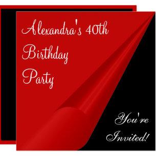 red and black 40th birthday invitations zazzle