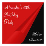 "Red Black & White 40th Birthday Party 5.25"" Square Invitation Card"