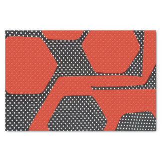 RED BLACK WHITE ABSTRACT TISSUE PAPER