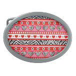 Red black & white abstract zebra hearts and dots oval belt buckles