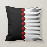 Red Black White and Gray Abstract Pillow